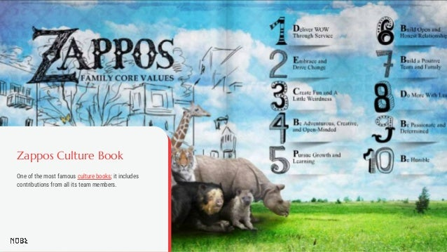 Zappos Culture Book One of the most famous culture books; it includes contributions from all its team members.