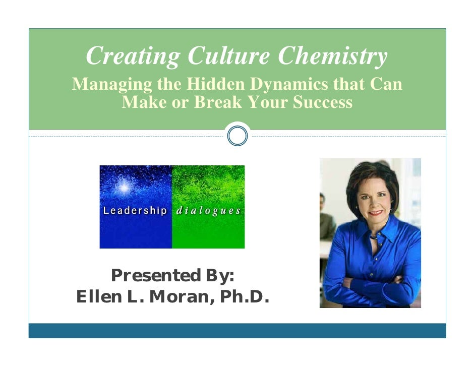 Creating Culture Chemistry Managing the Hidden Dynamics that Can     Make or Break Your Success         Presented By: Elle...