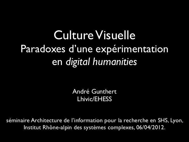 Culture Visuelle     Paradoxes d'une expérimentation           en digital humanities                          André Gunthe...