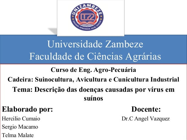 Universidade Zambeze Faculdade de Ciências Agrárias Curso de Eng. Agro-Pecuária Cadeira: Suinocultura, Avicultura e Cunicu...