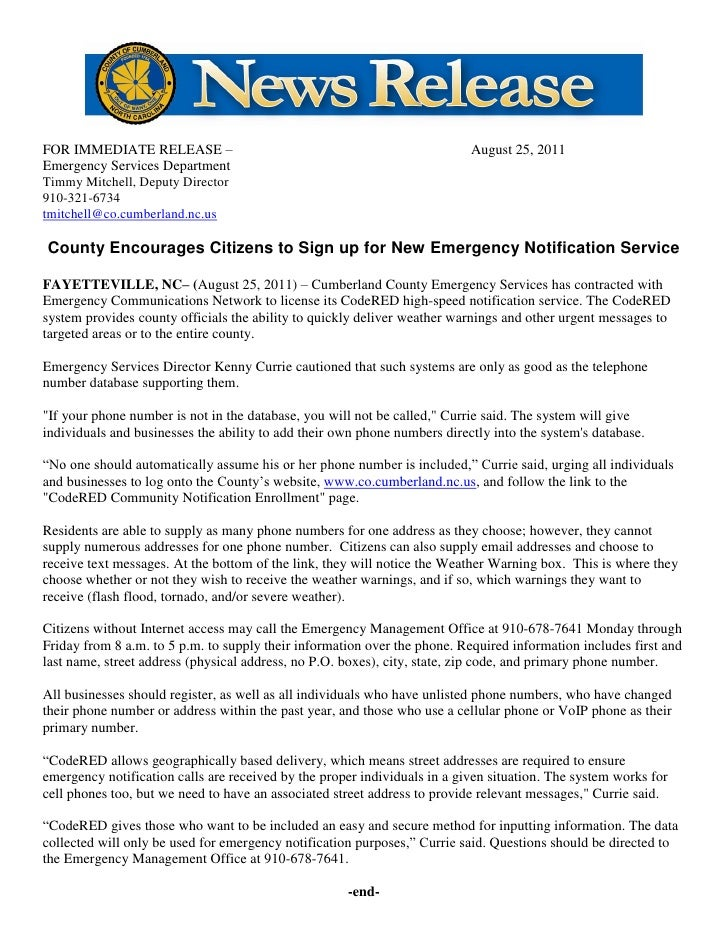 FOR IMMEDIATE RELEASE –                                                    August 25, 2011Emergency Services DepartmentTim...