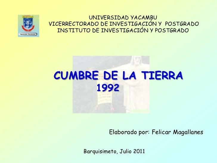 UNIVERSIDAD YACAMBUVICERRECTORADO DE INVESTIGACIÓN Y POSTGRADO   INSTITUTO DE INVESTIGACIÓN Y POSTGRADO CUMBRE DE LA TIERR...
