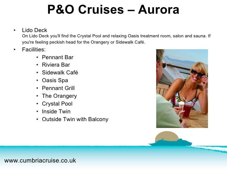 <ul><li>Lido Deck On Lido Deck you'll find the Crystal Pool and relaxing Oasis treatment room, salon and sauna. If you're ...