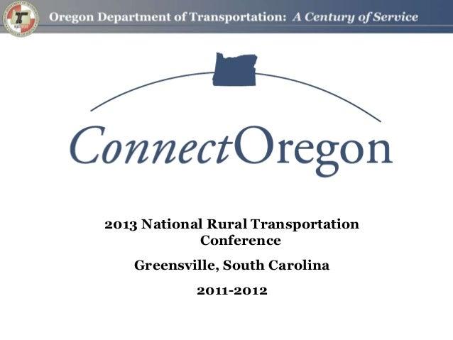 2013 National Rural TransportationConferenceGreensville, South Carolina2011-2012