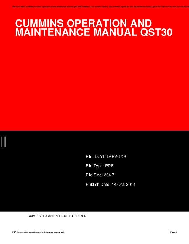 mins Operation And Maintenance Manual Qst30 on