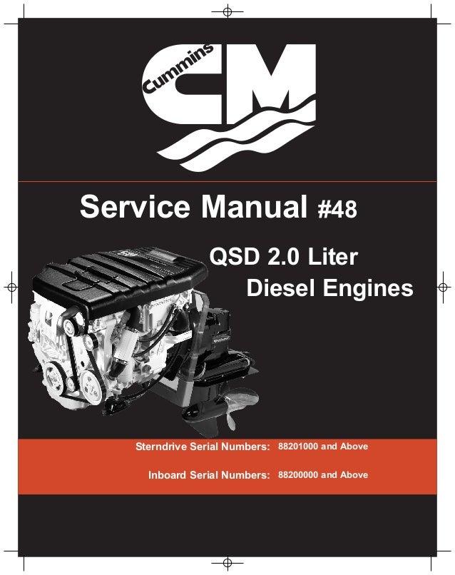 Cummins Mercruiser Qsd 2 0 L Diesel Engine Service Repair Manual Sn 8