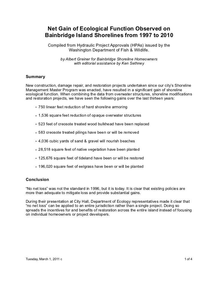 Net Gain of Ecological Function Observed on            Bainbridge Island Shorelines from 1997 to 2010              Compile...