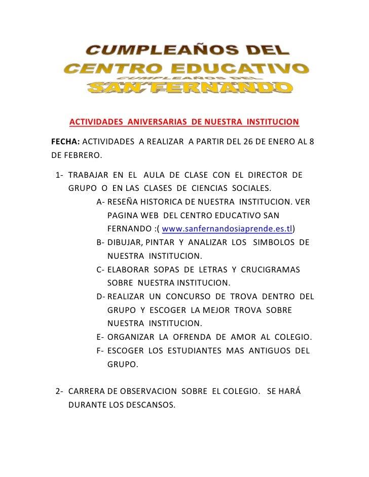 ACTIVIDADES  ANIVERSARIAS  DE NUESTRA  INSTITUCION<br />FECHA: ACTIVIDADES  A REALIZAR  A PARTIR DEL 26 DE ENERO AL 8 DE F...