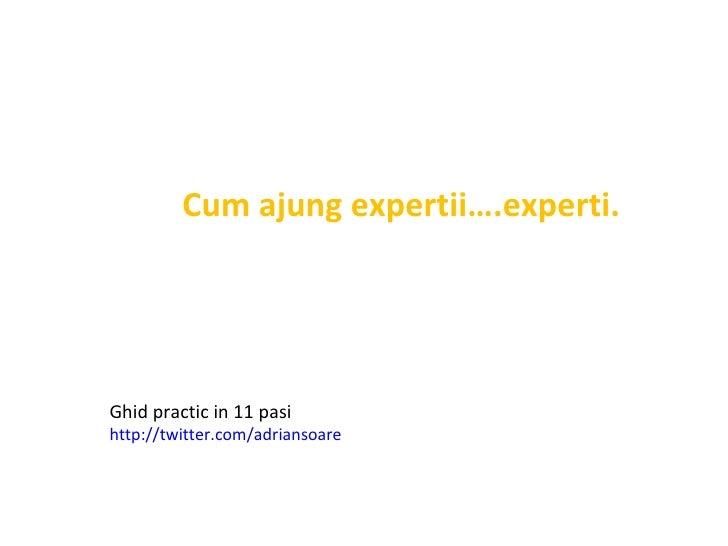 Cum ajung expertii….experti.   Ghid practic in 11 pasi  http://twitter.com/adriansoare