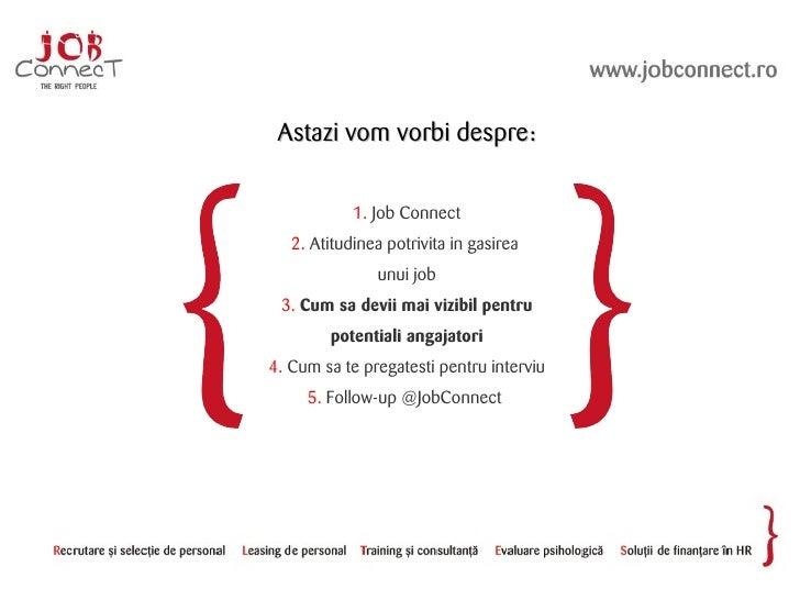 Astazi vom vorbi despre:              1. Job Connect    2. Atitudinea potrivita in gasirea                unui job  3. Cum...