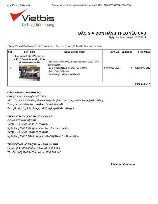 Ngày26 tháng 5 năm 2014 Cụm sấymáyin HP Laserjet M401D Fuser Assembly220V (RM1-8809-000CN)_26/05/2014 1/1 Xác nhận đơn hàn...