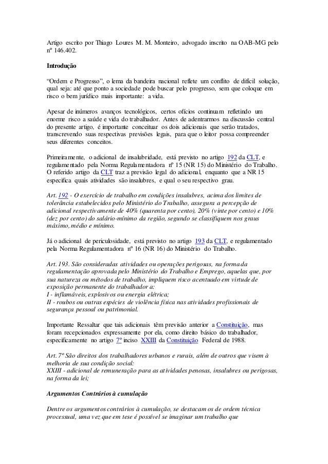 """Artigo escrito por Thiago Loures M. M. Monteiro, advogado inscrito na OAB-MG pelo  nº 146.402.  Introdução  """"Ordem e Progr..."""