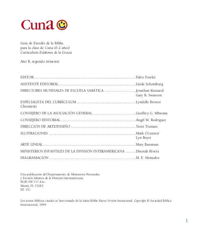 1 Cuna Guía de Estudio de la Biblia para la clase de Cuna (0-2 años) Currículum Eslabones de la Gracia Año B, segundo trim...
