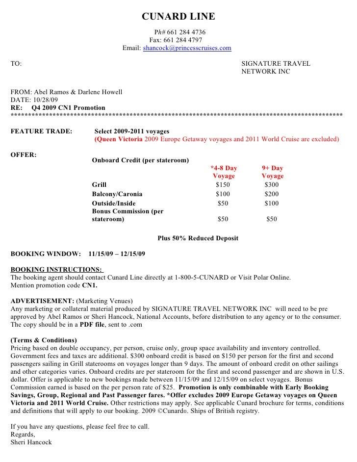 CUNARD LINE                                                     Ph# 661 284 4736                                          ...