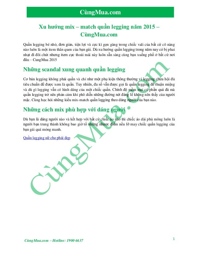 1 CùngMua.com CùngMua.com – Hotline: 1900 6637 Xu hướng mix – match quần legging năm 2015 – CùngMua.com Quần legging bé nh...