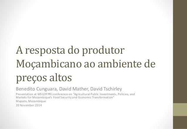 A resposta do produtor Moçambicano ao ambiente de preços altos Benedito Cunguara, David Mather, David Tschirley Presentati...