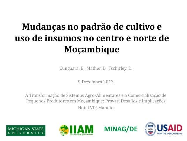 Mudanças no padrão de cultivo e uso de insumos no centro e norte de Moçambique