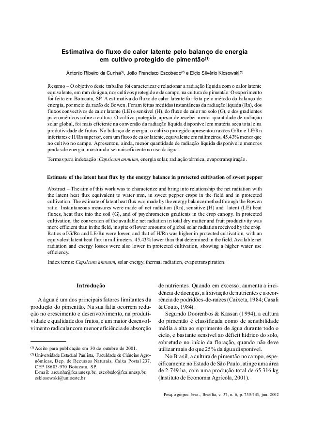Pesq. agropec. bras., Brasília, v. 37, n. 6, p. 735-743, jun. 2002 Estimativa do fluxo de calor latente 735 Estimativa do ...