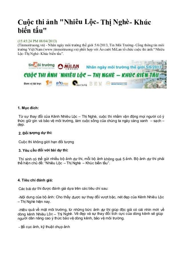"""Cuộc thi ảnh """"Nhiêu Lộc- Thị Nghè- Khúcbiến tấu""""(15:45:24 PM 08/04/2013)(Tinmoitruong.vn) - Nhân ngày môi trường thế giới ..."""
