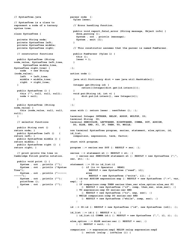 // SyntaxTree.java                      parser code {:                                           Yylex lexer; // SyntaxTre...