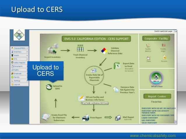 Upload to CERS     Upload to      CERS                 www.chemicalsafety.com