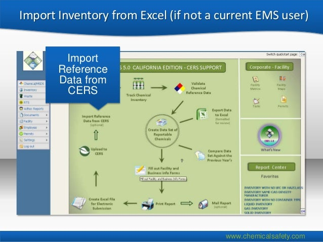 Import Inventory from Excel (if not a current EMS user)        Import       Reference       Data from        CERS         ...
