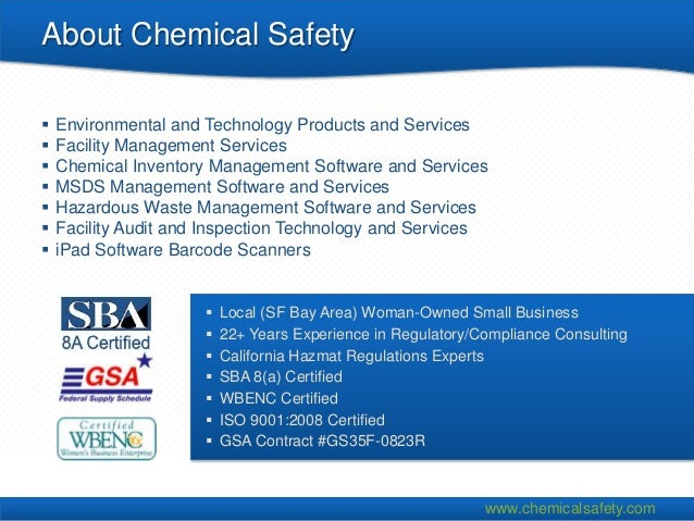 About Chemical Safety   Environmental and Technology Products and Services   Facility Management Services   Chemical In...
