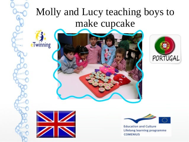 Molly and Lucy teaching boys to make cupcake