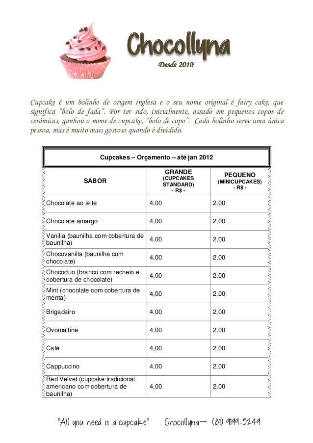 """""""All you need is a cupcake"""" Chocollyna – (81) 9199-5249 Cupcake é um bolinho de origem inglesa e o seu nome original é fai..."""
