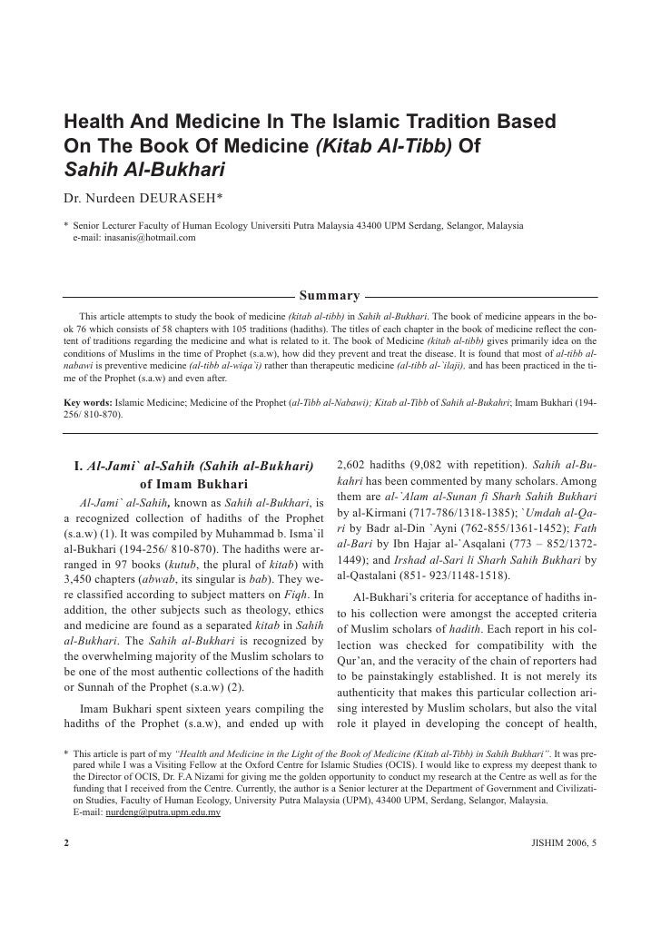 Health And Medicine In The Islamic Tradition Based On The Book Of Medicine (Kitab Al-Tibb) Of Sahih Al-Bukhari Dr. Nurdeen...