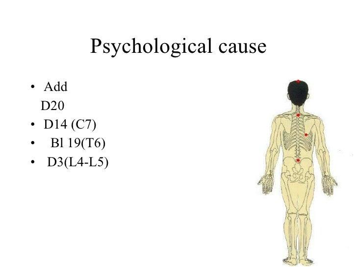 Psychological cause • Add   D20 • D14 (C7) • Bl 19(T6) • D3(L4-L5)