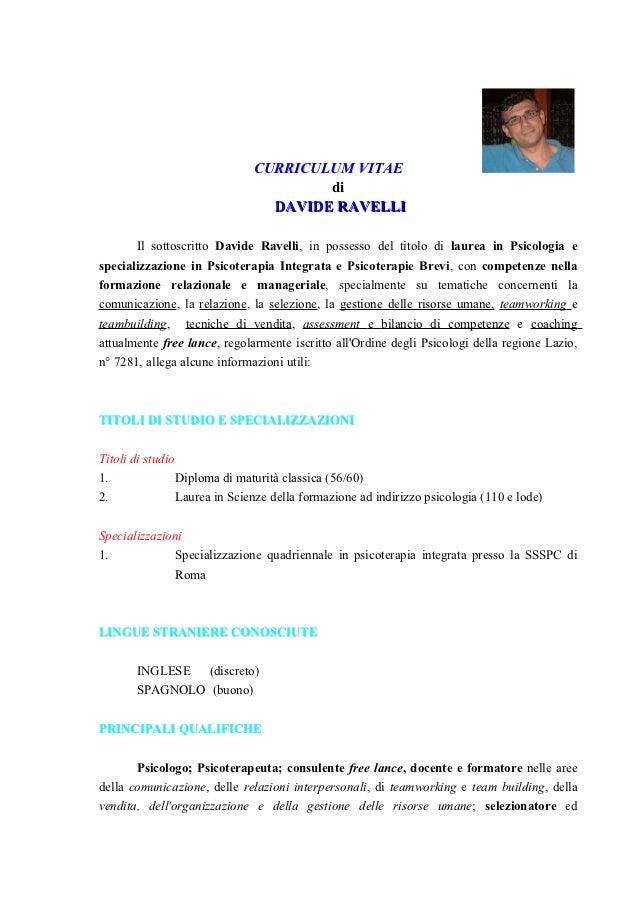 CURRICULUM VITAE                                      di                                DAVIDE RAVELLI       Il sottoscrit...