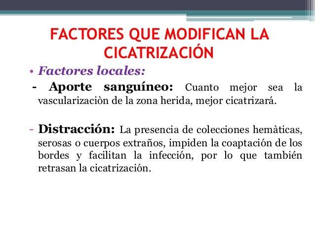 FACTORES QUE MODIFICAN LA CICATRIZACIÓN • Factores locales: - Aporte sanguíneo: Cuanto mejor sea la vascularizaciòn de la ...