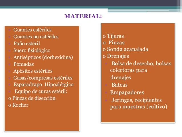• Guantes estériles • Guantes no estériles • Paño estéril • Suero fisiológico • Antisépticos (dorhexidina) • Pomadas • Apó...
