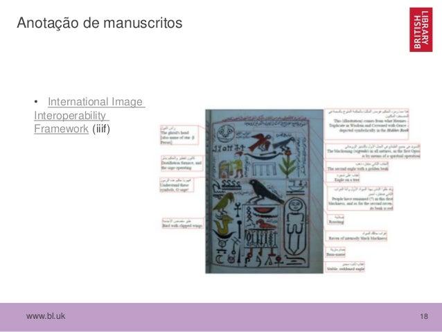 www.bl.uk 18 Anotação de manuscritos • International Image Interoperability Framework (iiif)