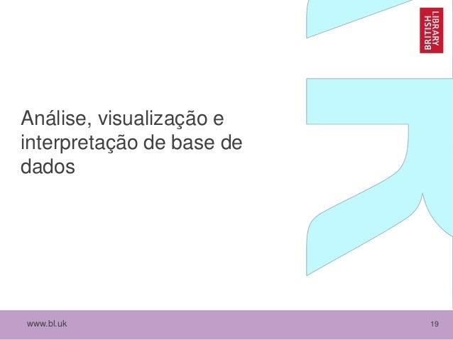 www.bl.uk 19 Análise, visualização e interpretação de base de dados