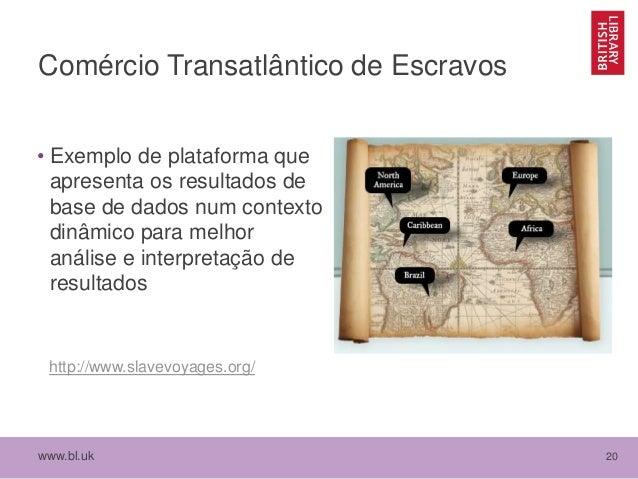 www.bl.uk 20 Comércio Transatlântico de Escravos • Exemplo de plataforma que apresenta os resultados de base de dados num ...