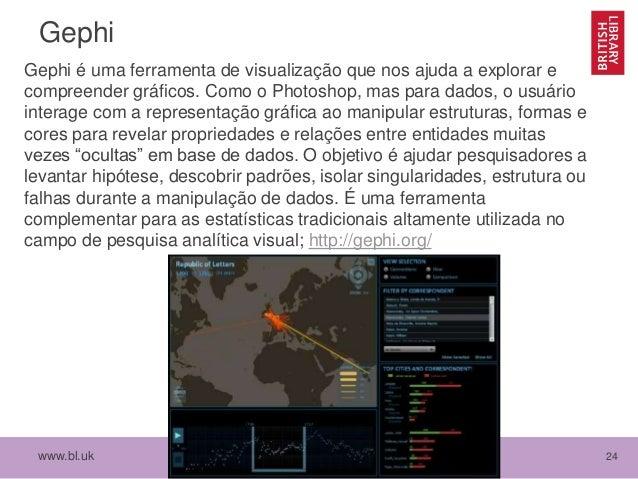 www.bl.uk 24 Gephi Gephi é uma ferramenta de visualização que nos ajuda a explorar e compreender gráficos. Como o Photosho...