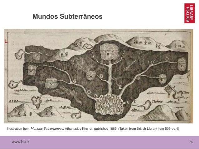 www.bl.uk 74 Mundos Subterrâneos Illustration from Mundus Subterraneus, Athanasius Kircher, published 1665. (Taken from Br...