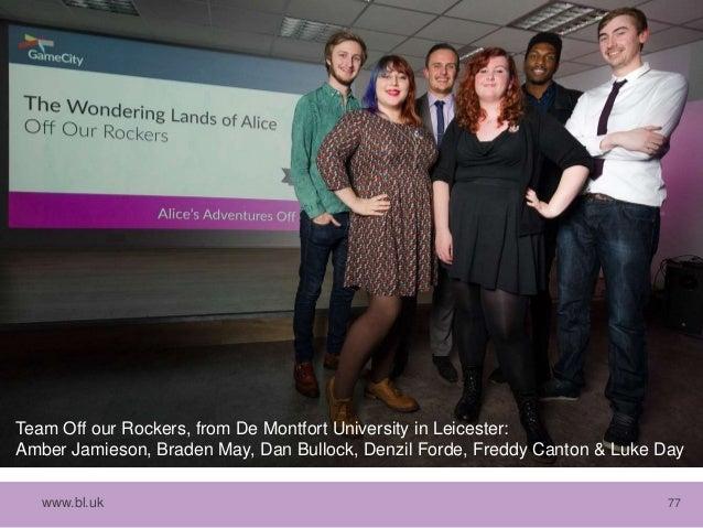 www.bl.uk 77 Team Off our Rockers, from De Montfort University in Leicester: Amber Jamieson, Braden May, Dan Bullock, Denz...