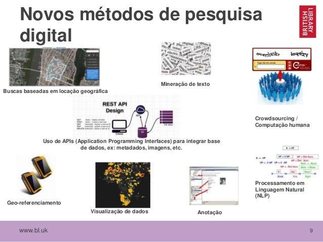 www.bl.uk 9 Novos métodos de pesquisa digital Uso de APIs (Application Programming Interfaces) para integrar base de dados...
