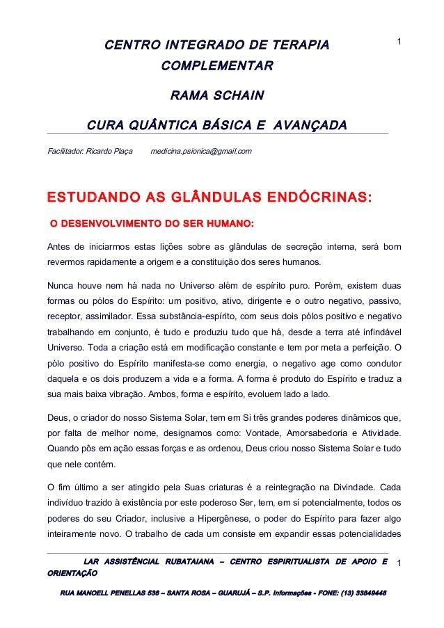 CENTRO INTEGRADO DE TERAPIA COMPLEMENTAR RAMA SCHAIN CURA QUÂNTICA BÁSICA E AVANÇADA Facilitador: Ricardo Plaça medicina.p...