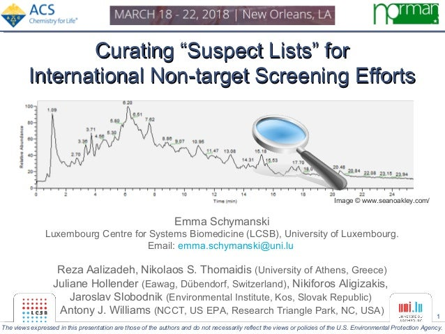 """1 Curating """"Suspect Lists"""" forCurating """"Suspect Lists"""" for International Non-target Screening EffortsInternational Non-tar..."""