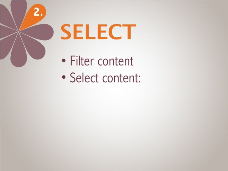 2.     SELECT     • Filter content     • Select content:       - quality       - originality       - relevance