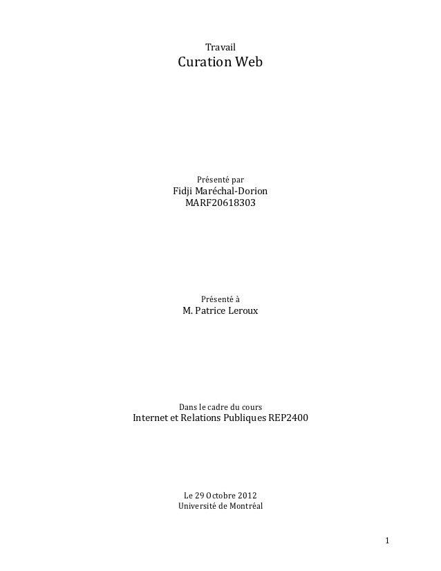 Travail          Curation Web              Présenté par        Fidji Maréchal-Dorion           MARF20618303               ...