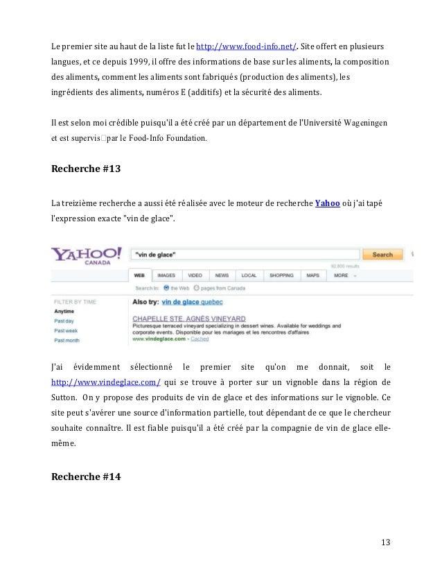 Le premier site au haut de la liste fut le http://www.food-info.net/. Site offert en plusieurslangues, et ce depuis 1999, ...