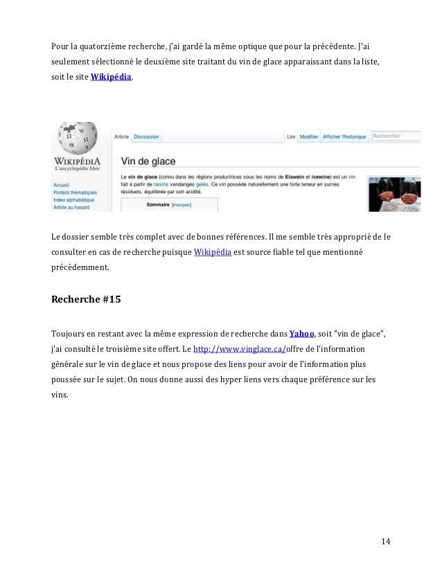 Pour la quatorzième recherche, jai gardé la même optique que pour la précédente. Jaiseulement sélectionné le deuxième site...