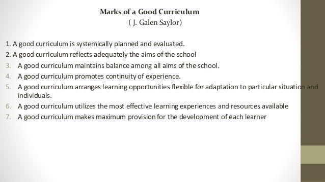characteristics of a good curriculum