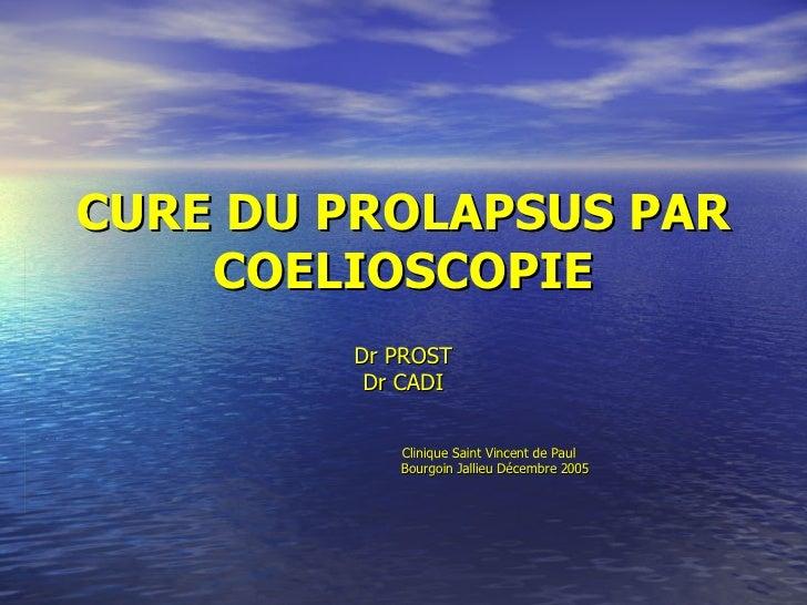 CURE DU PROLAPSUS PAR COELIOSCOPIE Dr PROST Dr CADI Clinique Saint Vincent de Paul Bourgoin Jallieu Décembre 2005