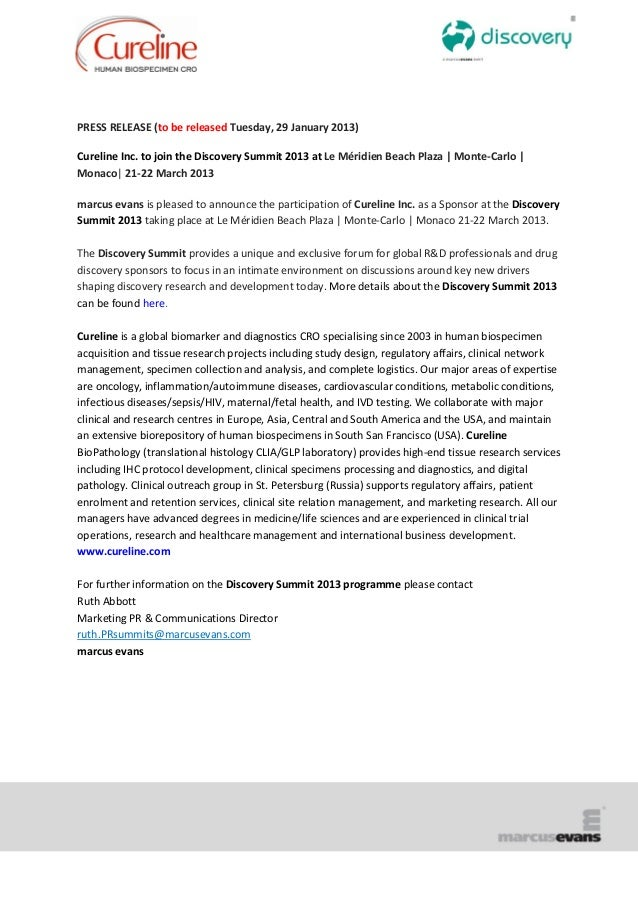 PRESS RELEASE (to be released Tuesday, 29 January 2013)Cureline Inc. to join the Discovery Summit 2013 at Le Méridien Beac...